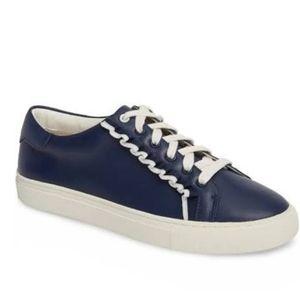 Tory Sport Ruffle Sneaker 7.5 White/Navy